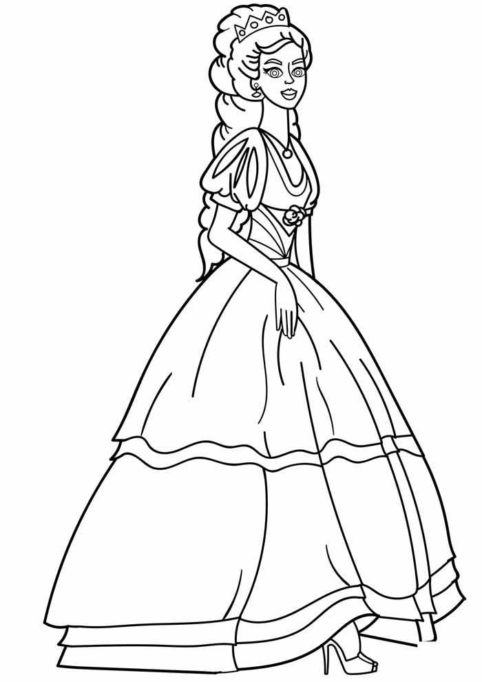 princesa para colorir linda