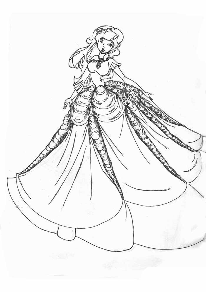 princesa para colorir lindo vestido