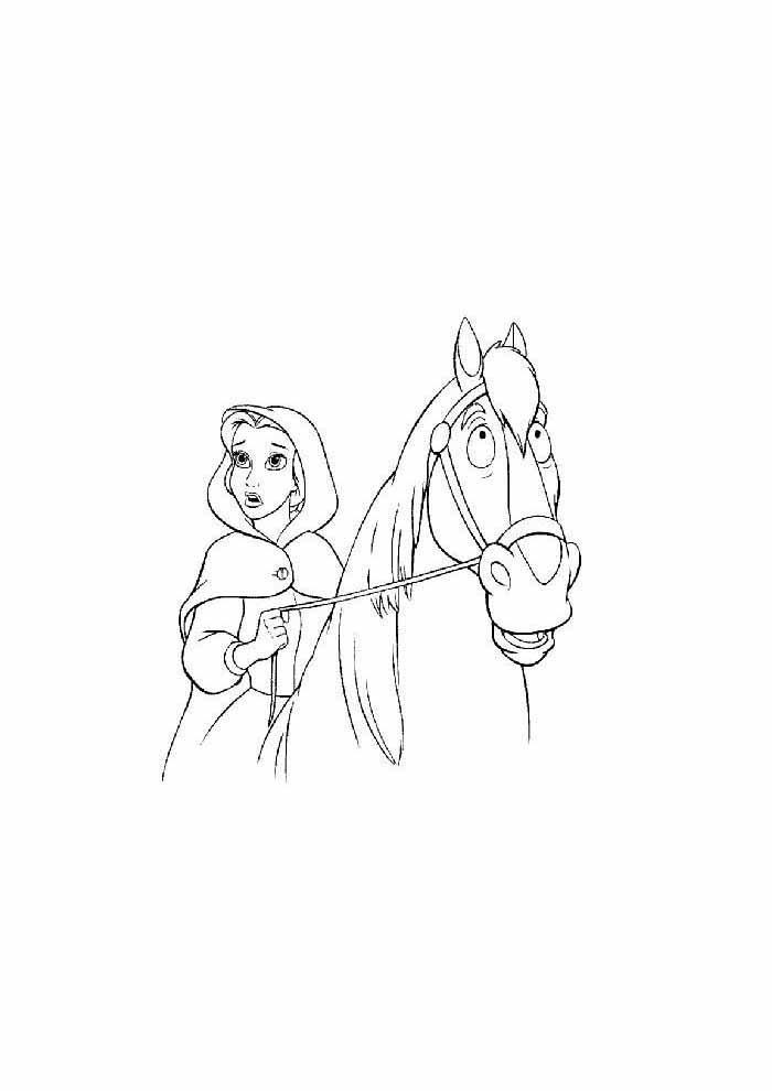 princesa para colorir no cavalo