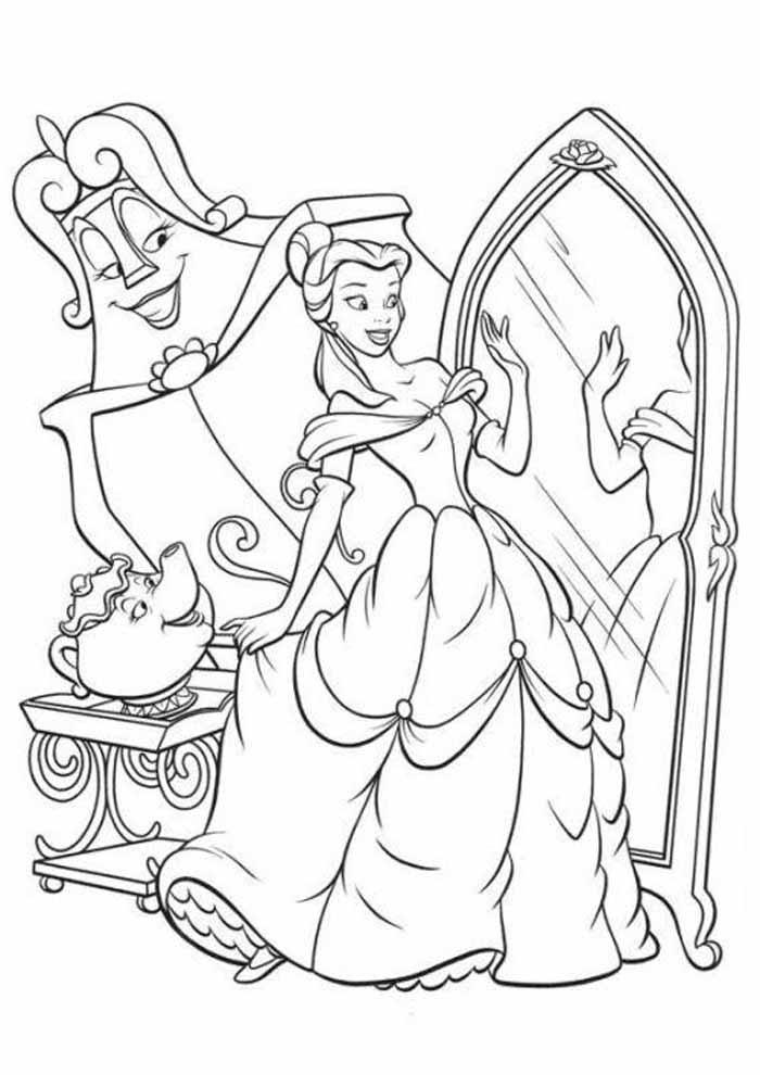 princesa para colorir olhando no espelho