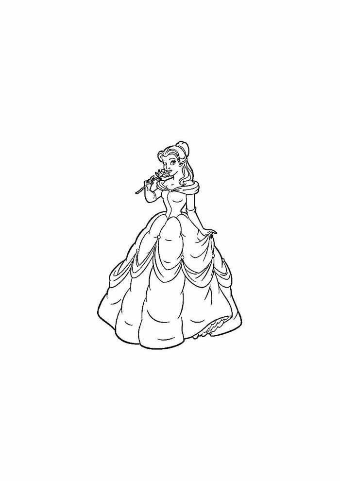 princesa para colorir segurando rosa