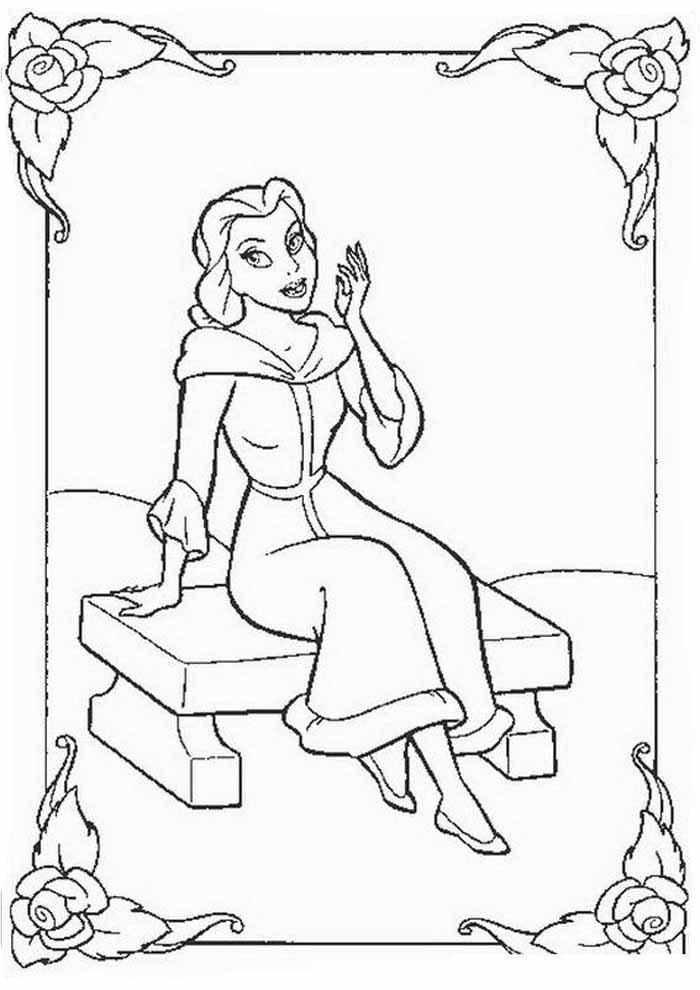 princesa para colorir sentada pensativa