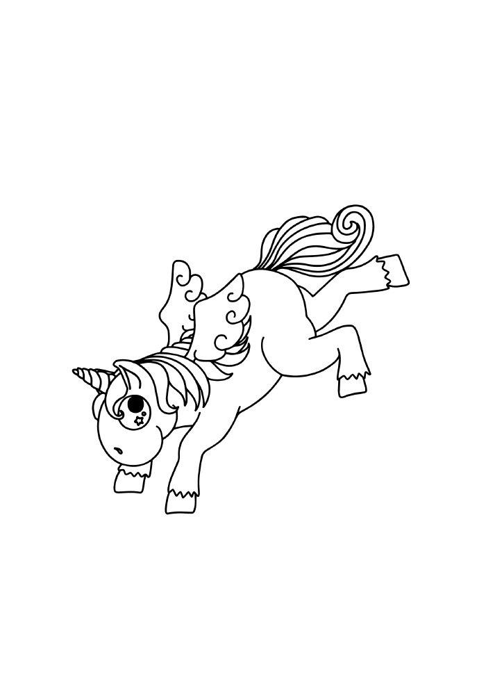 unicornio-para-colorir-correndo