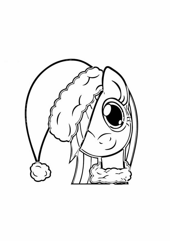 my little pony para colorir chapeu de natal