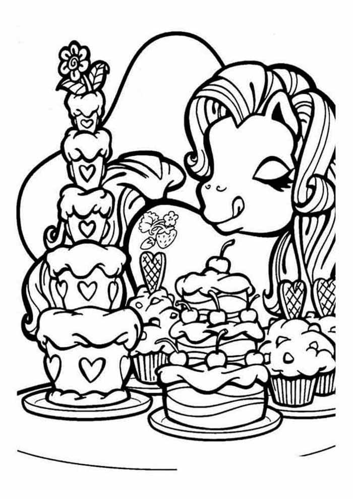 my little pony para colorir comendo bolo