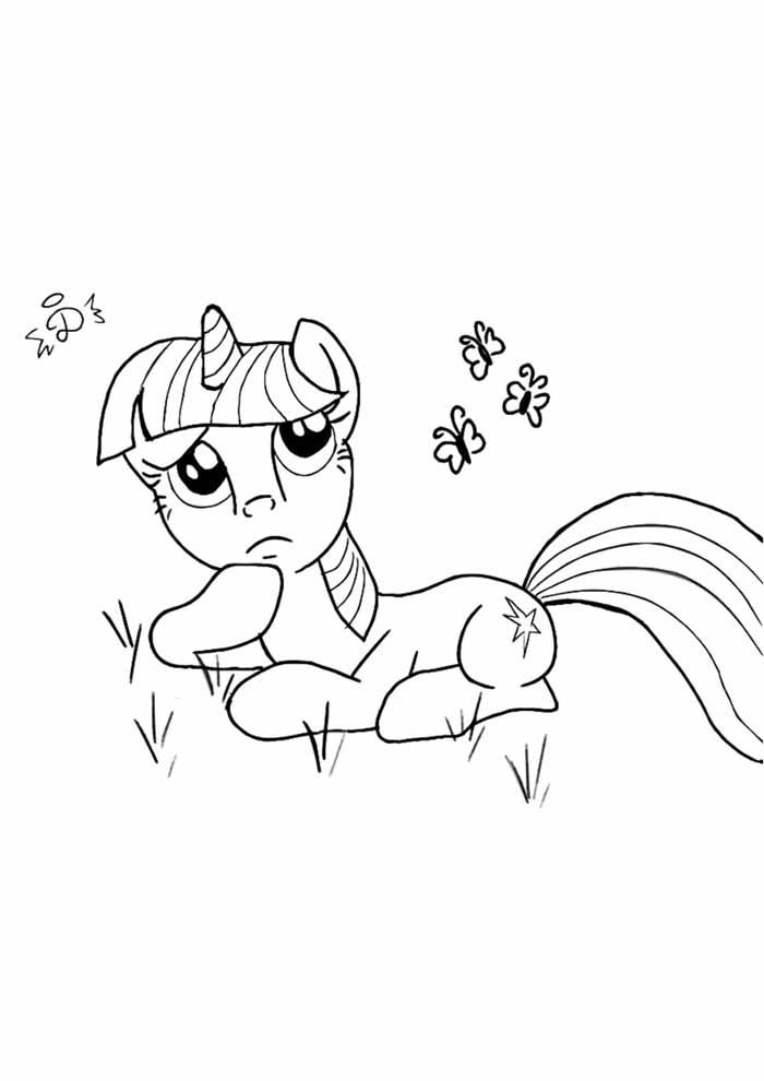 my little pony pensativo para colorir