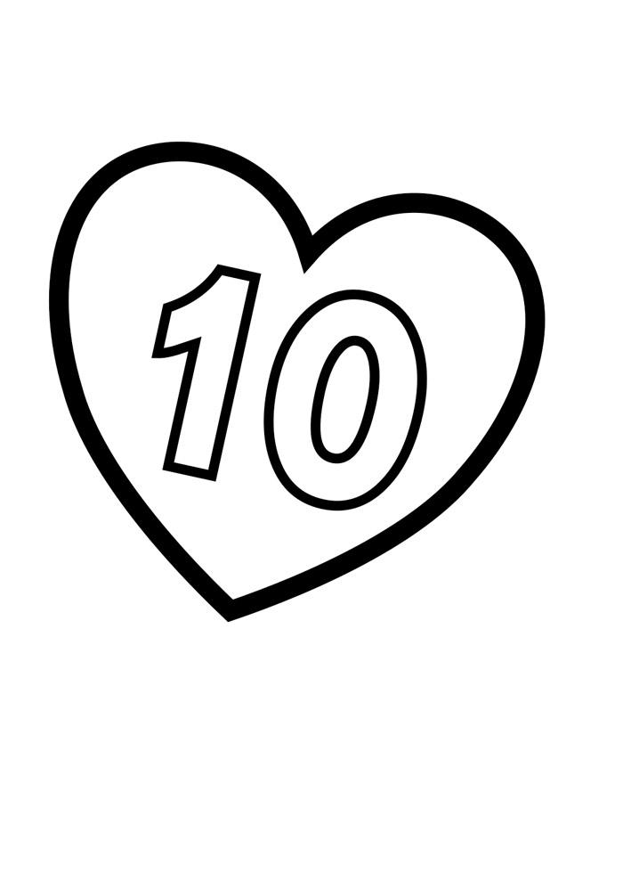 numero ilustrado para colorir 10
