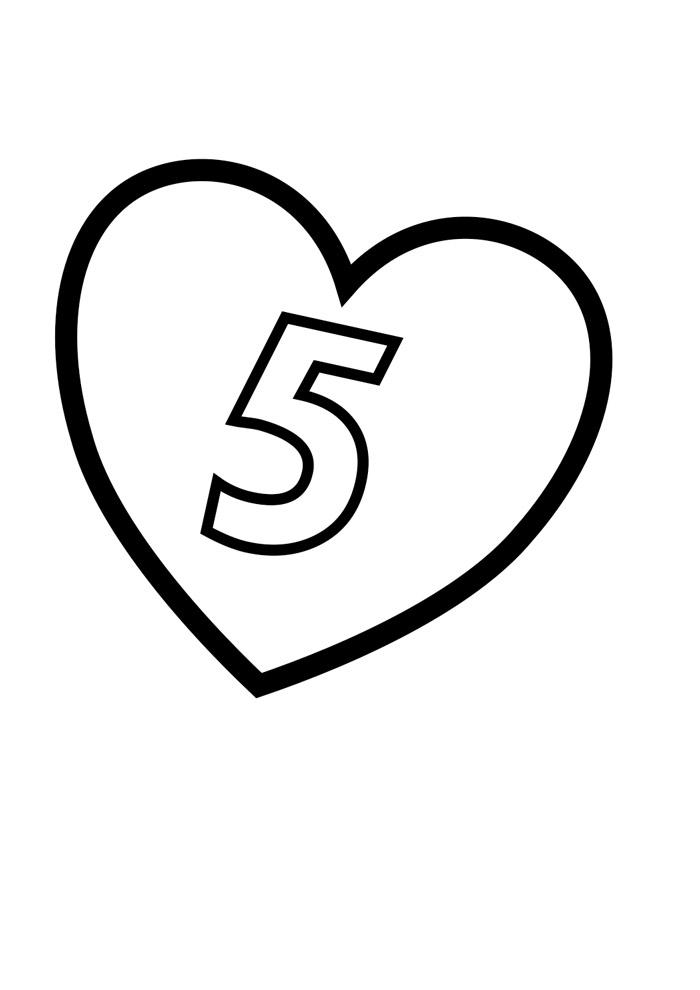 numero ilustrado para colorir 5