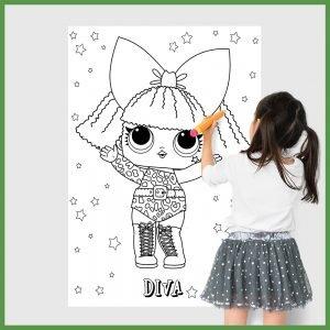 LOL Diva desenho gigante para colorir