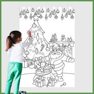 desenho gigante para colorir papai noel e arvore de natal