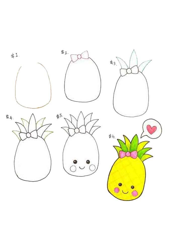 desenho para desenhar abacaxi kawaii