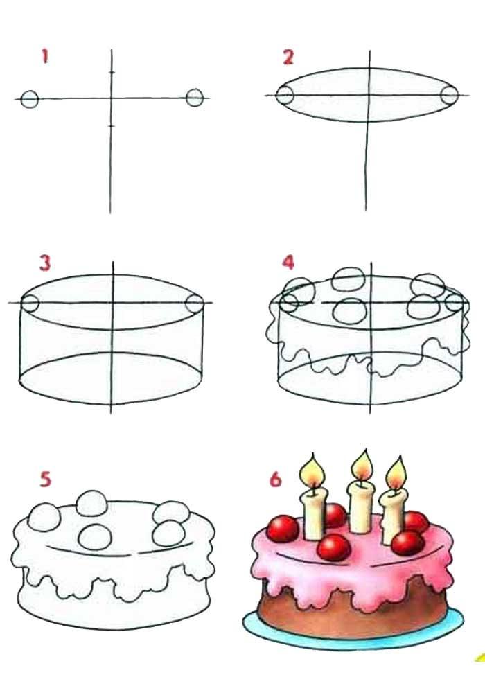 desenho para desenhar bolo