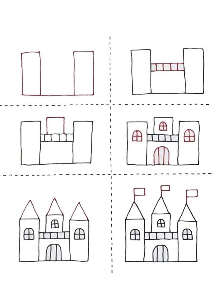 desenho para desenhar castelo