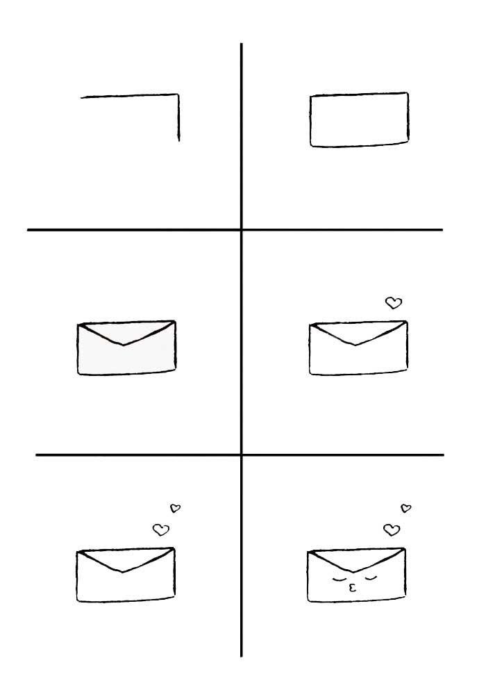 desenho para desenhar envelope kawaii