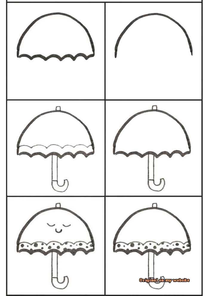 desenho para desenhar guarda chuva