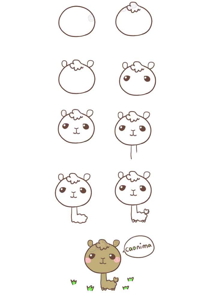 desenho para desenhar lhama
