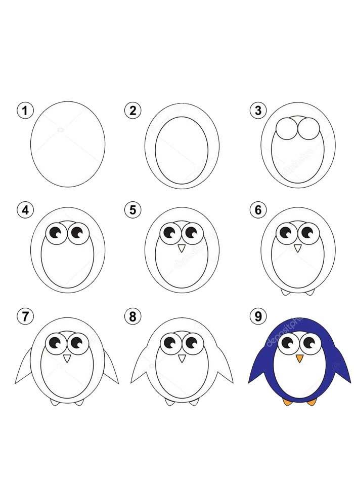desenho para desenhar pinguim