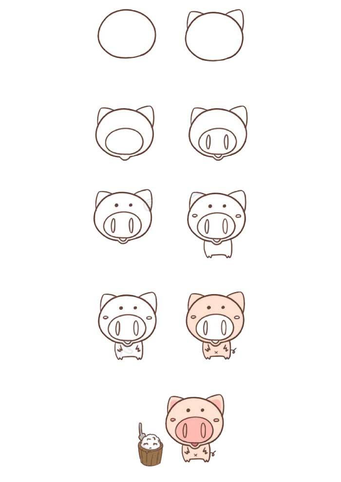 desenho para desenhar porquinho