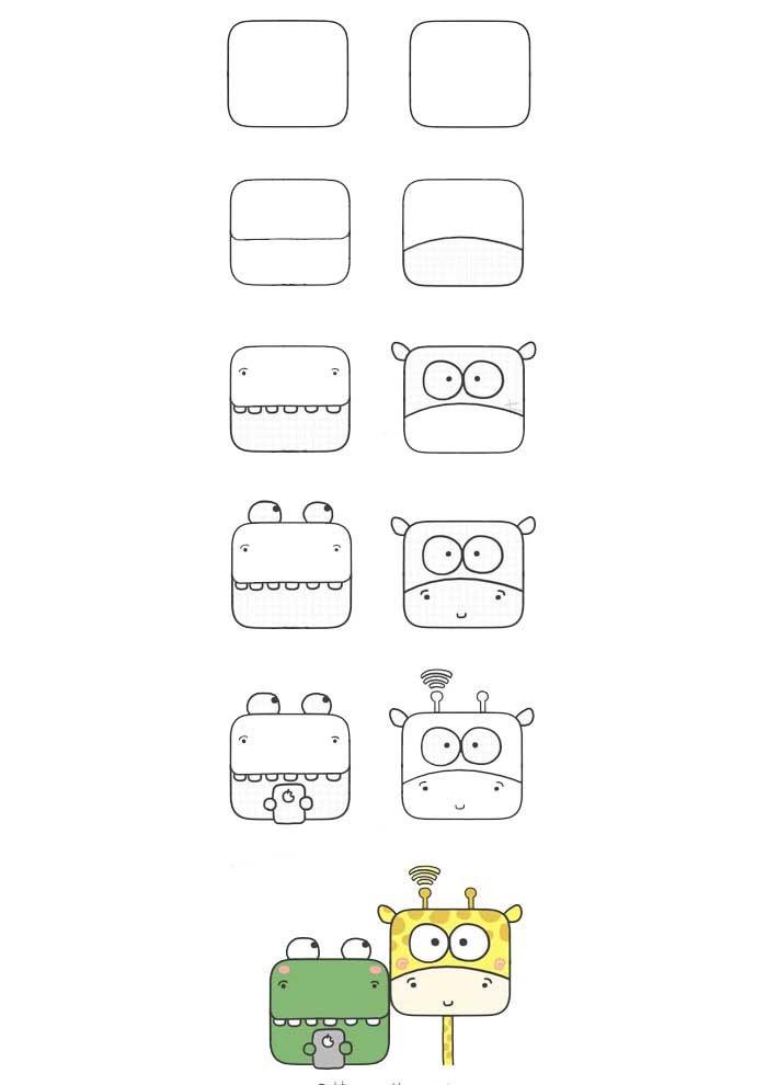 desenho para desenhar sapo e girafa