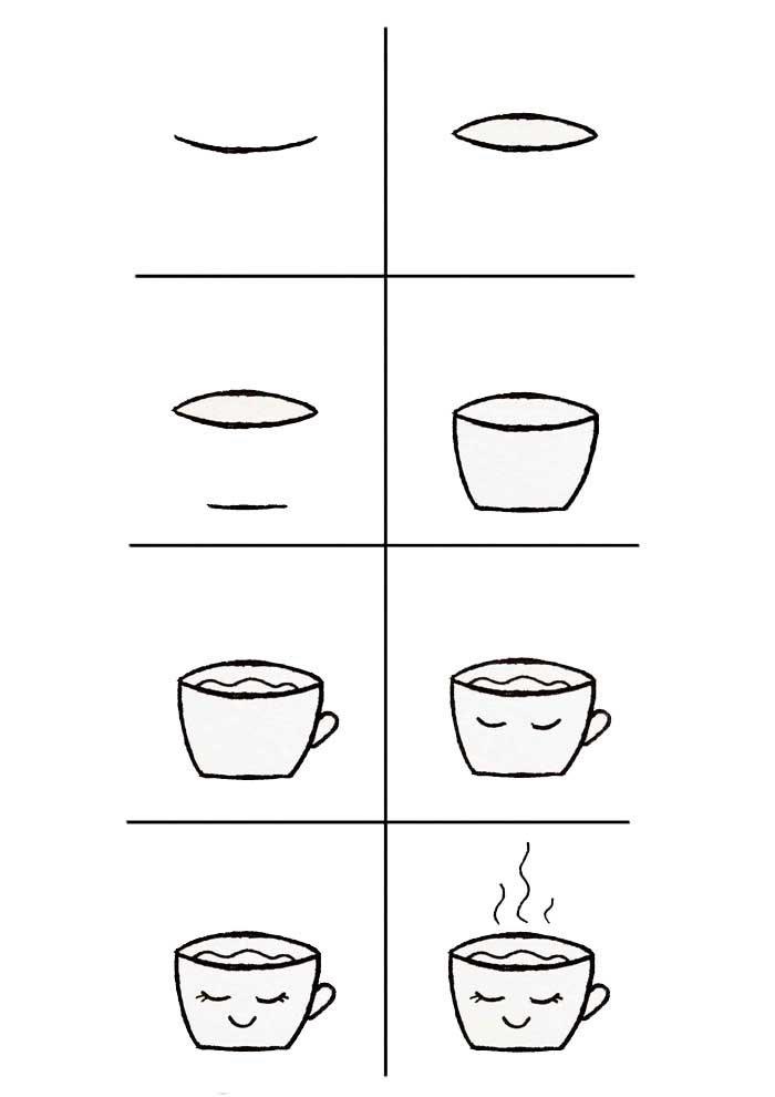 desenho para desenhar xicara de cafe