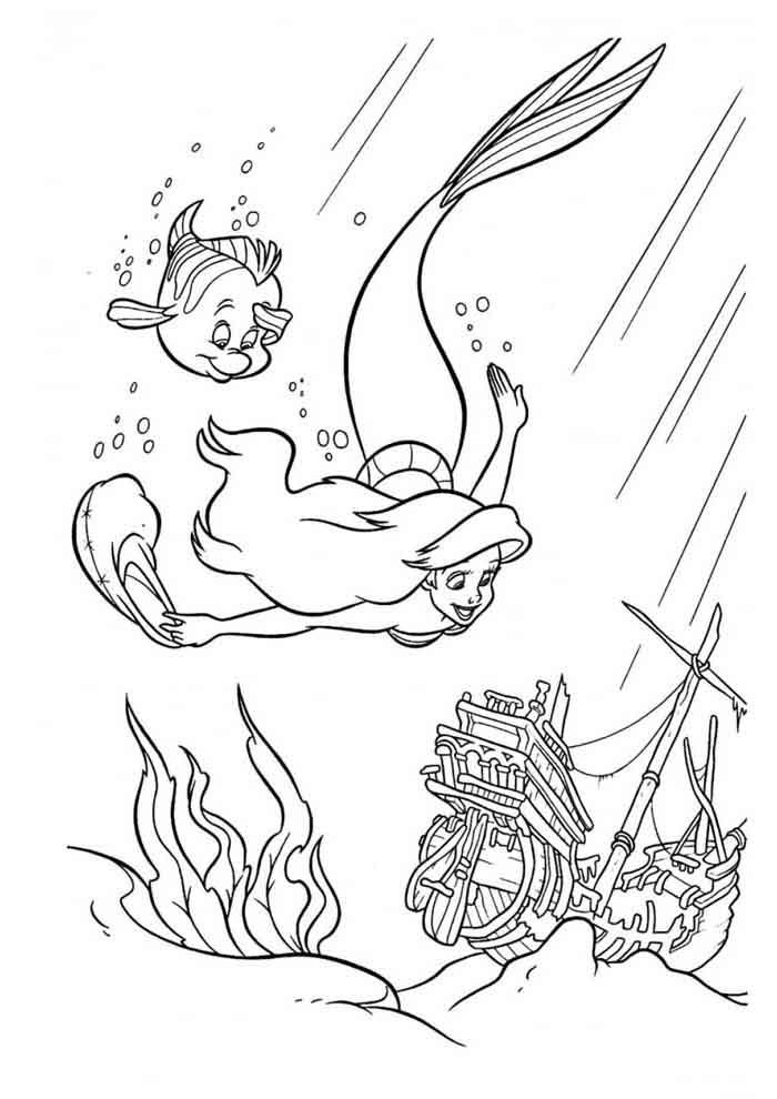 desenho disney para colorir ariel 7